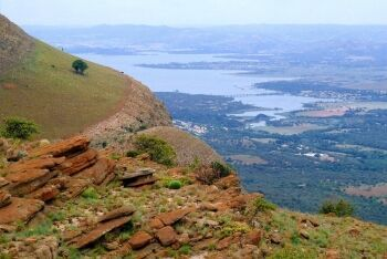 Hartbeespoort dam seen from the Magaliesberg, near Skeerpoort